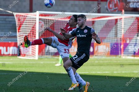 Fleetwood Town's defender James Hill (33) clears the ball during the EFL Sky Bet League 1 match between Fleetwood Town and Accrington Stanley at the Highbury Stadium, Fleetwood