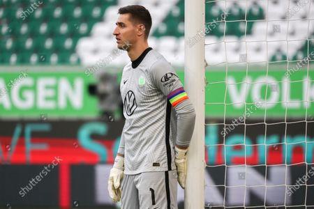 Wolfsburg's goalkeeper Koen Casteels reacts during the German Bundesliga soccer match between VfL Wolfsburg and Hertha BSC in Wolfsburg, Germany, 27 February 2021.