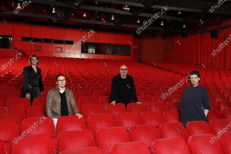 Four members of the Jury of the 71st Berlin International Film Festival Berlinale , Jasmila Zbanic, Ildiko Enyedi, Gianfranco Rosi and Adina Pintilie pose for a group photo in the empty Berlinale Palace, the main screening theater of the festival in Berlin, Germany, 27 February 2021. The jury will announce the awards of this year's festival on 05 March 2021. The other two members of the jury, Mohammad Rasoulof and Nadav Lapid, cannot attend the jury meetings in Berlin in person. Due to the ongoing coronavirus Covid-19 pandemic, the 2021 Berlinale will be split into two stages. From 01 through 05 March 2021, the festival will hold an online-only event mainly for the international industry. An in-person festival is planned for 09-20 June 2021.