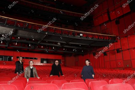 Stock Photo of Four members of the Jury of the 71st Berlin International Film Festival Berlinale , Jasmila Zbanic, Ildiko Enyedi, Gianfranco Rosi and Adina Pintilie pose for a group photo in the empty Berlinale Palace, the main screening theater of the festival in Berlin, Germany, 27 February 2021. The jury will announce the awards of this year's festival on 05 March 2021. The other two members of the jury, Mohammad Rasoulof and Nadav Lapid, cannot attend the jury meetings in Berlin in person. Due to the ongoing coronavirus Covid-19 pandemic, the 2021 Berlinale will be split into two stages. From 01 through 05 March 2021, the festival will hold an online-only event mainly for the international industry. An in-person festival is planned for 09-20 June 2021.