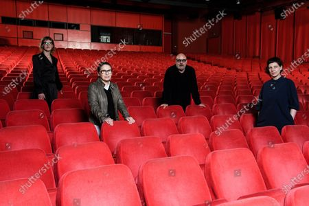 Stock Photo of Members of the jury of the 71st Berlin International Film Festival  Bosnian director Jasmila Zbanic, Hungarian director Ildiko Enyedi, Italian director Gianfranco Rosi and Romanian director Adina Pintilie pose in the Berlinale Palast in Berlin, Germany, 27 February 2021. Due to restrictions of the coronavirus Covid-19 pandemic, that causes the covid-19 disease, the Berlinale 2021 will be held as a virtual industry event, running from 01 to 05 March 2021 and a so-called Summer Special including spectators, running from 09 to 20 June 2021.