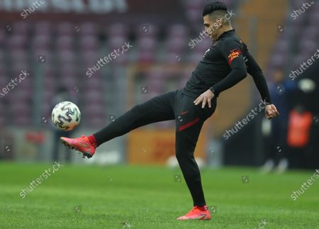 Radamel Falcao of Galatasaray warms up for the Turkish Super League soccer match between Galatasaray and Erzurumspor in Istanbul, Turkey, 27 February 2021.