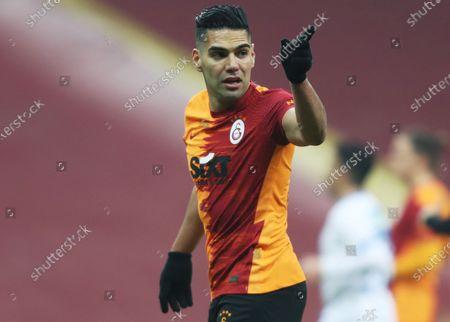 Radamel Falcao of Galatasaray reacts during the Turkish Super League soccer match between Galatasaray and Erzurumspor in Istanbul, Turkey, 27 February 2021.