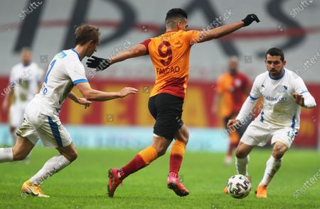 Stock Image of Radamel Falcao (C) of Galatasaray in action during the Turkish Super League soccer match between Galatasaray and Erzurumspor in Istanbul, Turkey, 27 February 2021.