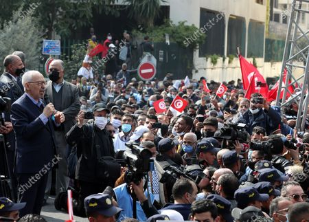 The leader of Tunisia's largest political Islamist party Ennahda Rached Ghannouchi speaks during a rally in opposition to President Kais Saied in Tunis, Tunisia, 27 February 2021.