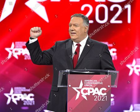 Former US Secretary of State, Mike Pompeo addresses attendees at the Conservative Political Action Conference (CPAC) 2021 hosted by the American Conservative Union at the Hyatt Regency Orlando