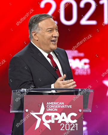 Stock Picture of Former US Secretary of State, Mike Pompeo addresses attendees at the Conservative Political Action Conference (CPAC) 2021 hosted by the American Conservative Union at the Hyatt Regency Orlando