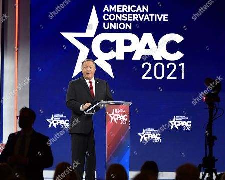 Stock Photo of Former US Secretary of State, Mike Pompeo addresses attendees at the Conservative Political Action Conference (CPAC) 2021 hosted by the American Conservative Union at the Hyatt Regency Orlando