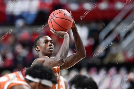 Texas' Andrew Jones (1) shoots a free throw attempt during the second half of an NCAA college basketball game against Texas Tech in Lubbock, Texas