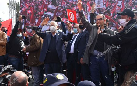 Stock Image of The leader of the Ennahda movement, Rached Ghannouchi, seen during the demonstration. Supporters of the Islamist Ennahdha party protest demanding the end of political crisis in the country as the cabinet revise issues between President of Tunisia, Kais Saied and Prime Minister Prime Minister of Tunisia, Hichem Mechichi continues in Tunis, Tunisia.