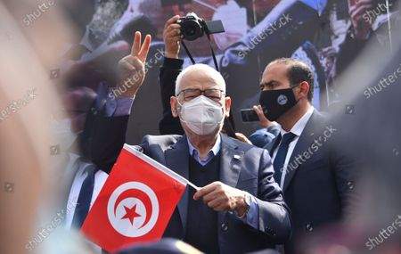 The leader of the Ennahda movement, Rached Ghannouchi, seen during the demonstration. Supporters of the Islamist Ennahdha party protest demanding the end of political crisis in the country as the cabinet revise issues between President of Tunisia, Kais Saied and Prime Minister Prime Minister of Tunisia, Hichem Mechichi continues in Tunis, Tunisia.