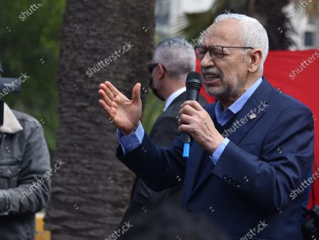 The leader of the Ennahda movement, Rached Ghannouchi speaks to his supporters during the demonstration. Supporters of the Islamist Ennahdha party protest demanding the end of political crisis in the country as the cabinet revise issues between President of Tunisia, Kais Saied and Prime Minister Prime Minister of Tunisia, Hichem Mechichi continues in Tunis, Tunisia.
