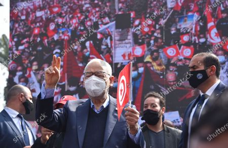 Stock Picture of The leader of the Ennahda movement, Rached Ghannouchi, seen during the demonstration. Supporters of the Islamist Ennahdha party protest demanding the end of political crisis in the country as the cabinet revise issues between President of Tunisia, Kais Saied and Prime Minister Prime Minister of Tunisia, Hichem Mechichi continues in Tunis, Tunisia.