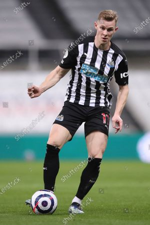 Stock Image of Newcastle's Emil Krafth in action during the English Premier League soccer match between Newcastle United and Wolves at the St James' Park stadium in Newcastle, England