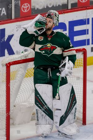 Minnesota Wild Cam Talbot during a break against the Los Angeles Kings during an NHL hockey game, in St. Paul, Minn