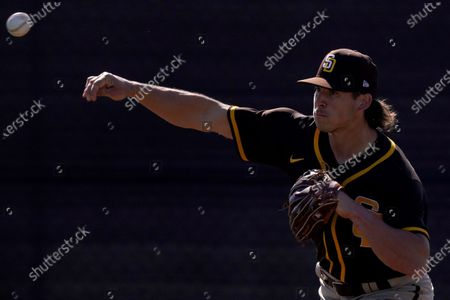 San Diego Padres pitcher Taylor Williams throws during spring training baseball practice, in Peoria, Ariz