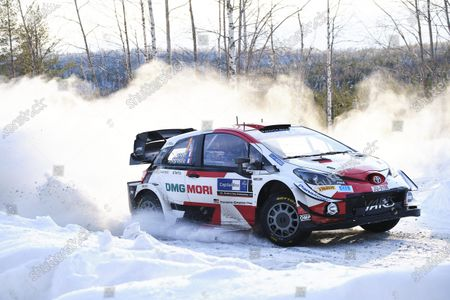 Sebastien Ogier of France and his co-driver Julien Ingrassia of France steer their Toyota Yaris WRC car during the Arctic Rally Finland, second round of the FIA World Rally Championship in Rovaniemi, Finnish Lapland, on February 27, 2021.