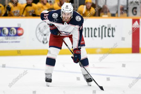 Columbus Blue Jackets defenseman Michael Del Zotto (15) plays against the Nashville Predators during first period of an NHL hockey game, in Nashville, Tenn