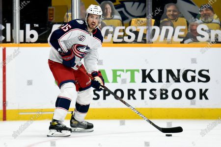 Columbus Blue Jackets defenseman Michael Del Zotto (15) plays against the Nashville Predators during second period of an NHL hockey game, in Nashville, Tenn