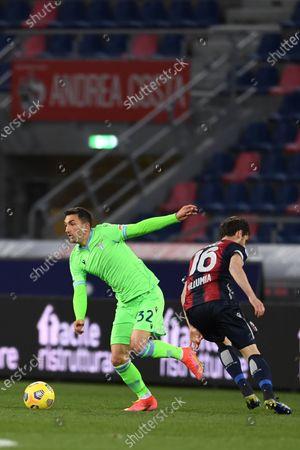 """Stock Picture of Danilo Cataldi (Lazio)Andrea Poli (Bologna)      during the Italian """"Serie A  match between Bologna 2-0 Lazio  at  Renato Dall Ara Stadium in Bologna, Italy."""