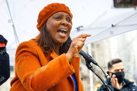 New York Attorney General Letitia James addresses the audience