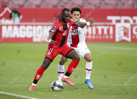Stock Picture of Moussa Konate of Dijon, Marquinhos of PSG