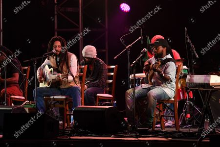 Stock Photo of Julian Marley and Aston Barrett Jr perform a semi acoustic set with The Wailers