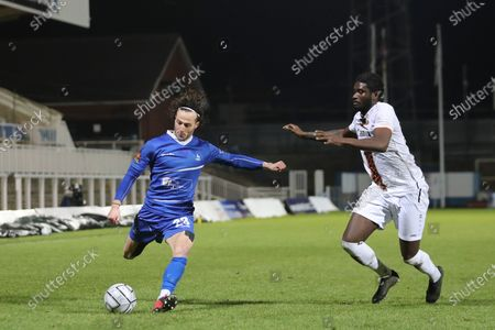 Stock Picture of Jamie Sterry of Hartlepool United and\ Richard Taylor of Barnet during the Vanarama National League match between Hartlepool United and Barnet at Victoria Park, Hartlepool on Saturday 27th February 2021. (Credit: Mark Fletcher | MI News) (Photo by MI News/NurPhoto)