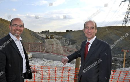 Jim Knight Employment Minister and Lord Andrew Adonis, Secretary of State for Transport  at the site of a new relief road for the town