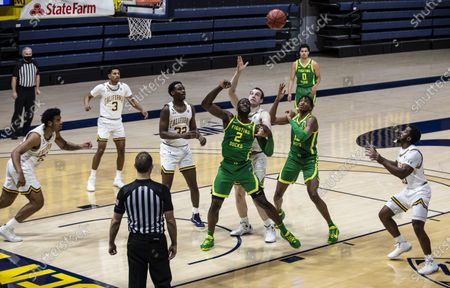 Berkeley, CA U.S.A. Oregon forward Eugene Omoruyi (2),Chandler Lawson (13) and California forward Grant Anticevich (15) battles for the rebound during the NCAA Men's Basketball game between Oregon Ducks and the California Golden Bears 74-63 win at Hass Pavilion Berkeley Calif. Thurman James / CSM