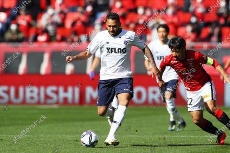 (L to R)  Arthur Silva (FC Tokyo),  Yuki Abe (Reds) - Football / Soccer :  2021 J1 League match  between Urawa Reds 1-1 FC Tokyo  at Saitama Stadium 2002 in Saitama, Japan.