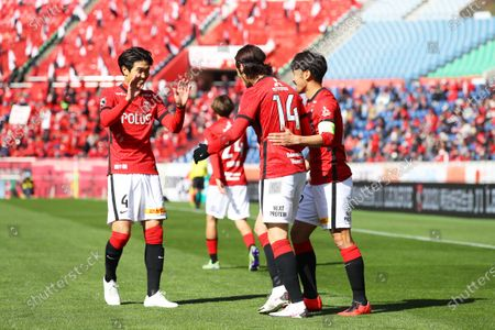 (L to R)  Takuya Iwanami,  Kenyu Sugimoto,  Yuki Abe (Reds) - Football / Soccer :  2021 J1 League match  between Urawa Reds 1-1 FC Tokyo  at Saitama Stadium 2002 in Saitama, Japan.