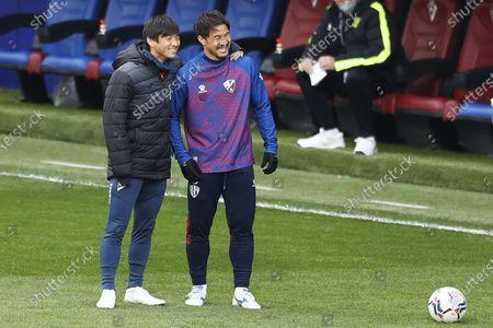 """Stock Image of Takashi Inui (Eibar), Shinji Okazaki (Huesca) - Football / Soccer : Spanish """"La Liga Santander"""" match between SD Eibar 1-1 SD Huesca at the Estadio Municipal de Ipurua in Eibar, Spain."""