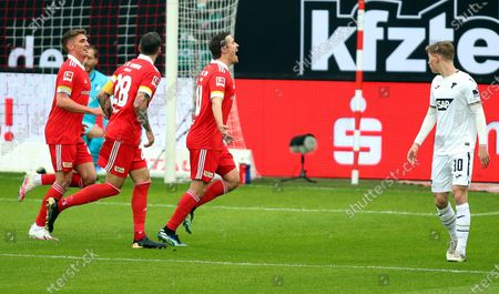 Union's Max Kruse (C) celebrates after scoring the 1-0 lead from the penalty spot during the German Bundesliga soccer match between FC Union Berlin and TSG Hoffenheim 1899 in Berlin, Germany, 28 February 2021.