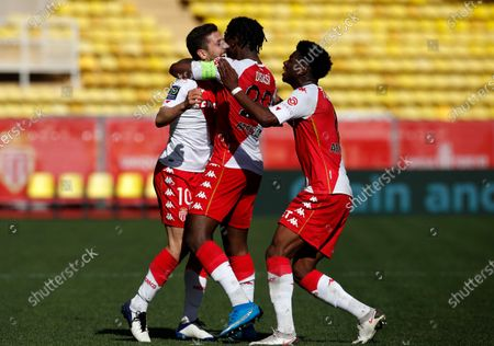 Stevan Jovetic (L) of Monaco celebrates with teammates after scoring the 1-0 lead during the French Ligue 1 soccer match between AS Monaco and Stade Brest at Stade Louis II in Monaco, 28 February 2021.