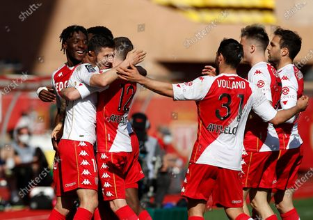 Stevan Jovetic (2-L) of Monaco celebrates with teammates after scoring the 1-0 lead during the French Ligue 1 soccer match between AS Monaco and Stade Brest at Stade Louis II in Monaco, 28 February 2021.