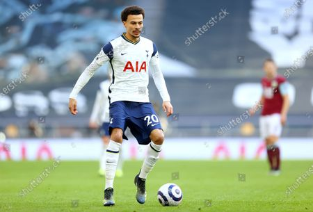 Dele Alli of Tottenham in action during the English Premier League soccer match between Tottenham Hotspur and Burnley FC in London, Britain, 28 February 2021.