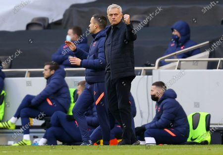 Tottenham manager Jose Mourinho reacts during the English Premier League soccer match between Tottenham Hotspur and Burnley FC in London, Britain, 28 February 2021.