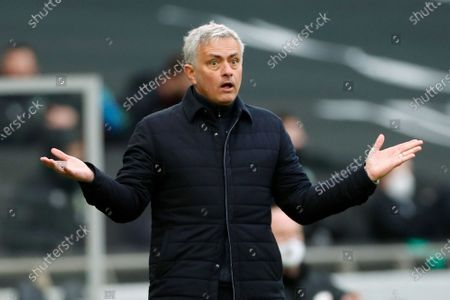 Tottenham's manager Jose Mourinho reacts during an English Premier League soccer match between Tottenham Hotspur and Burnley at the Tottenham Hotspur Stadium in London, England, Sunday, Feb. 28. 2021