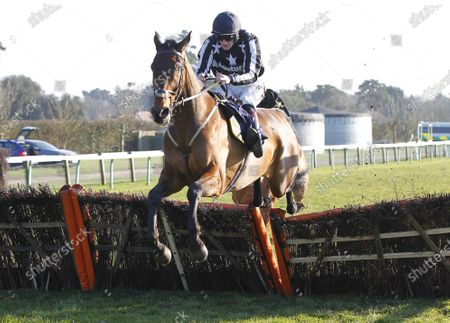 Fantastikas and Sam Twiston-Davies jump the last to win the Champagne Piaff Novices' Huirdle at Fontwell.