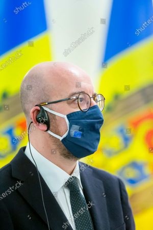 European Council President Charles Michel during a press conference as a part of his official visit in Chisinau, Moldova, 28 February 2021.