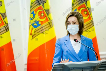 Moldova's President Maia Sandu during a press conference as a part of European Council President Charles Michel official visit in Chisinau, Moldova, 28 February 2021.