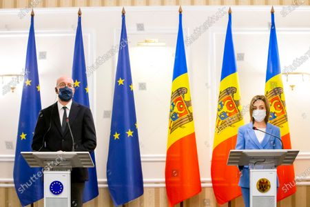 Stock Image of Moldova's President Maia Sandu and European Council President Charles Michel during a press conference as a part of Michel's official visit in Chisinau, Moldova, 28 February 2021.