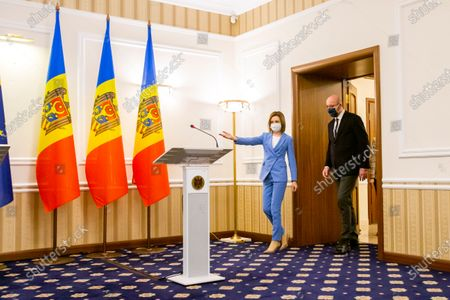 Stock Photo of Moldova's President Maia Sandu and European Council President Charles Michel arrive for a press conference as a part of Michel's official visit in Chisinau, Moldova, 28 February 2021.
