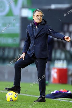 Fiorentina's head coach Cesare Prandelli reacts during the Italian Serie A soccer match between Udinese Calcio and ACF Fiorentina in Udine, Italy, 28 February 2021.