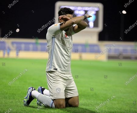 Al-Hilal's player Salem Al-Dawsari celebrates after scoring a goal during the Saudi Professional League soccer match between Al-Fateh and Al-Hilal at Prince Abdullah bin Jalawi Stadium, in Al-Hasa, Saudi Arabia, 28 February 2021.