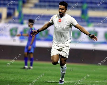 Stock Image of Al-Hilal's player Salem Al-Dawsari celebrates after scoring a goal during the Saudi Professional League soccer match between Al-Fateh and Al-Hilal at Prince Abdullah bin Jalawi Stadium, in Al-Hasa, Saudi Arabia, 28 February 2021.