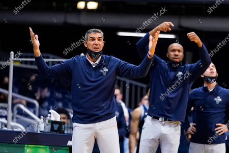 Villanova head coach Jay Wright reacts to a call in the second half of an NCAA college basketball game against Butler in Indianapolis