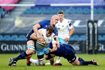 Stock Photo of Leinster vs Glasgow Warriors. Leinster's Devin Toner tackles Richie Gray of Glasgow