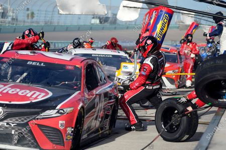 Christopher Bell in the No. 20 car pits during a NASCAR Cup Series auto race, in Homestead, Fla